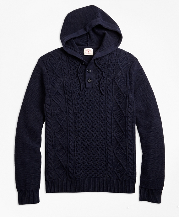 Cable-Knit Cotton Henley Hoodie