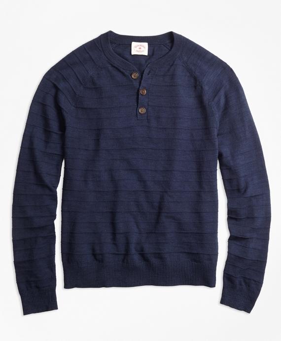 Textured-Stripe Cotton-Linen Henley Sweater Navy