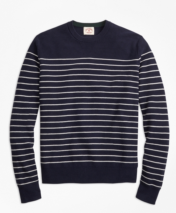 Breton-Stripe Cotton-Cashmere Sweater Navy-White