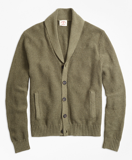 Seed-Stitch Shawl-Collar Cardigan
