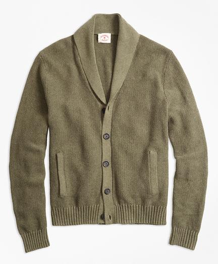 Seed-Stitch Shawl-Collar Cardigan