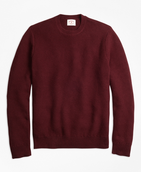 Honeycomb-Knit Cotton Sweater Burgundy