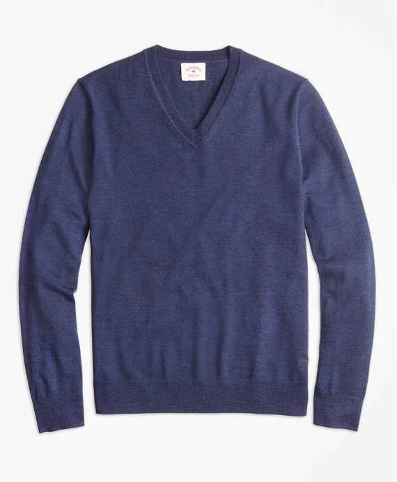 Merino Wool V-Neck Sweater Navy