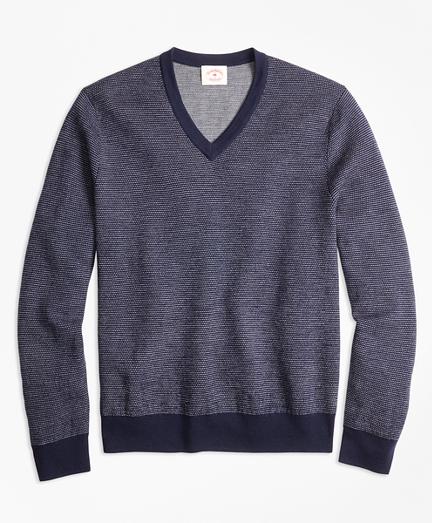 Bird's-Eye Merino Wool Jacquard V-Neck Sweater