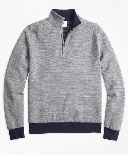 Bird's-Eye Merino Wool Jacquard Half-Zip Sweater