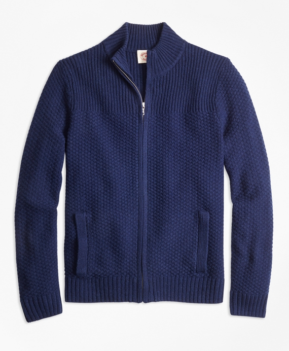 Wool-Blend Zip Cardigan Navy