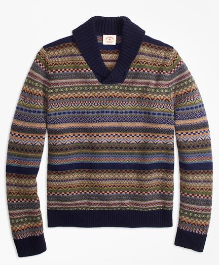Fair Isle Wool-Blend Shawl-Collar Sweater