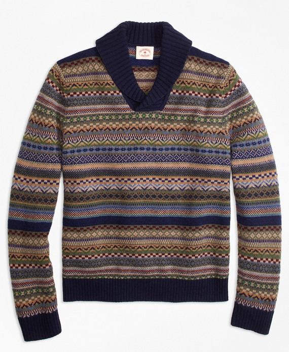 Fair Isle Wool-Blend Shawl-Collar Sweater - Brooks Brothers