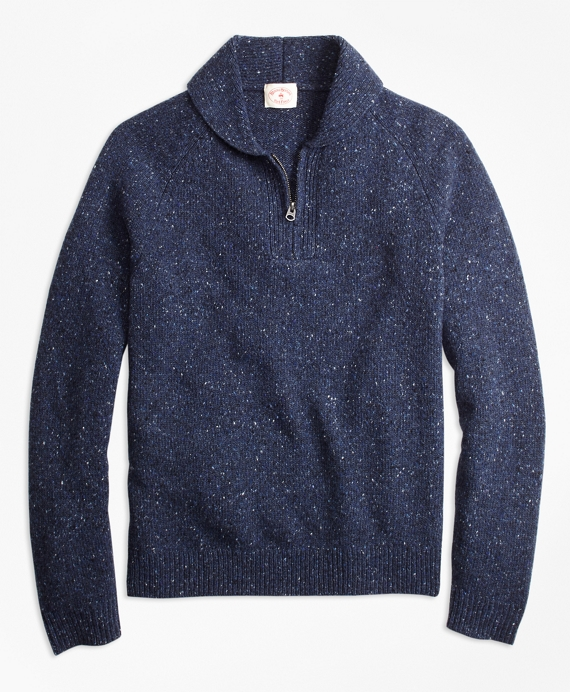 Wool-Alpaca-Blend Shawl-Collar Half-Zip Sweater Navy