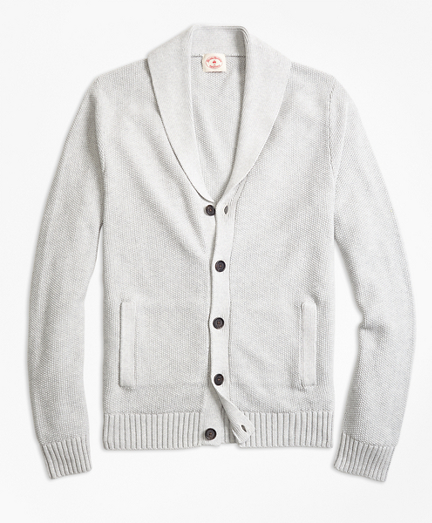 Seed-Stitch Cotton Shawl-Collar Cardigan