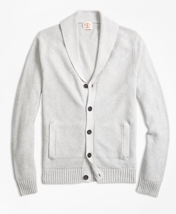 Seed-Stitch Cotton Shawl-Collar Cardigan Grey