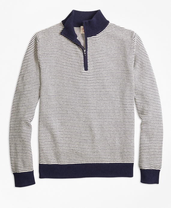 Stripe Cotton Half-Zip Sweater Navy