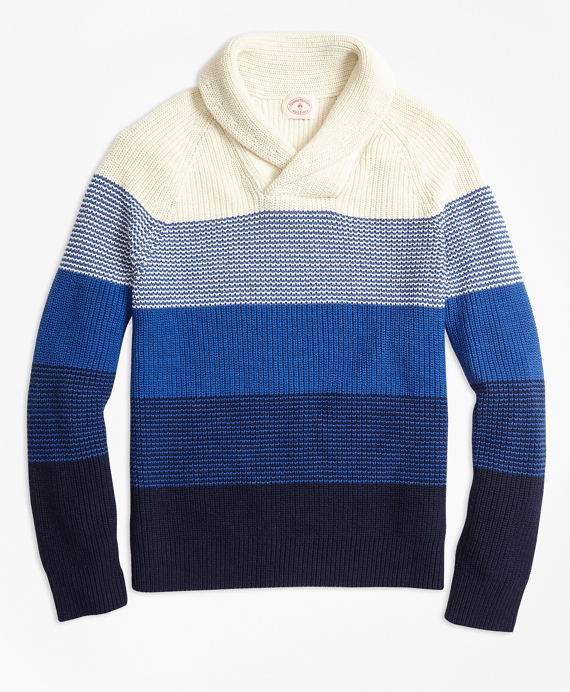 Color-Block Cotton Shaker Shawl-Collar Sweater