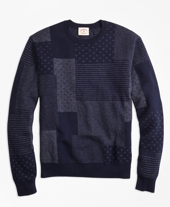 Patchwork Cotton Jacquard Crewneck Sweater