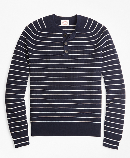 Striped Cotton Henley Sweater