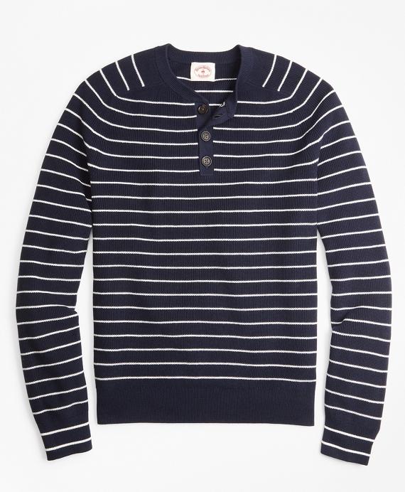 Striped Cotton Henley Sweater Navy