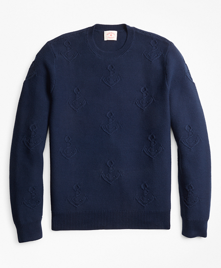 Anchor-Embroidered Crewneck Sweater