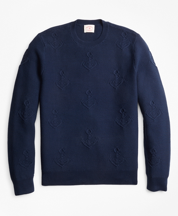 Anchor-Embroidered Crewneck Sweater Navy