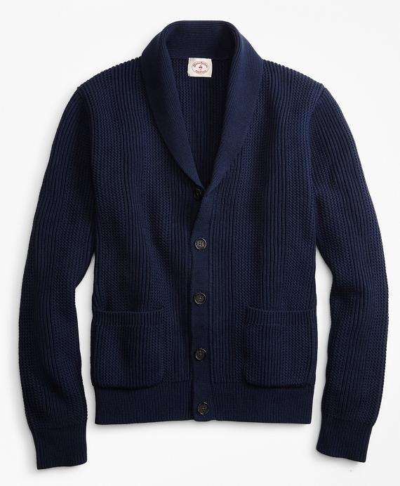 Shawl-Collar Button-Front Cardigan Navy