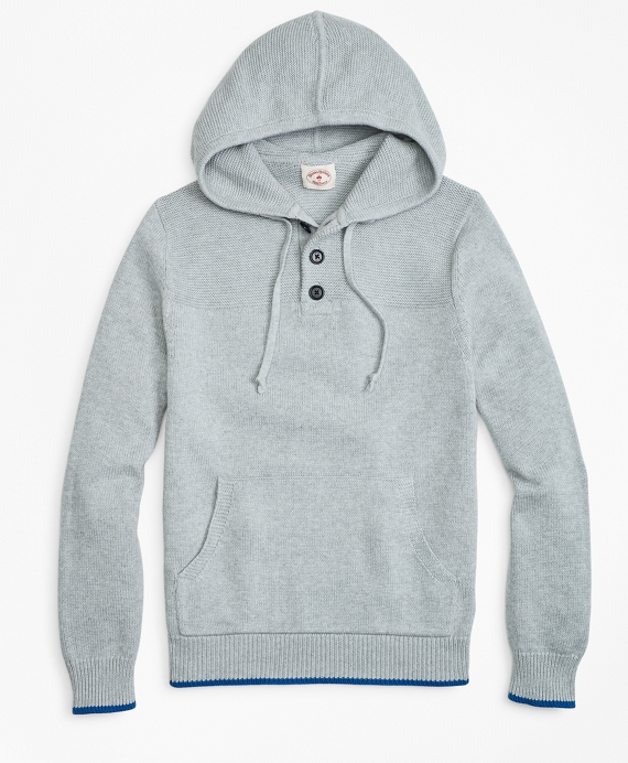 Cotton Heavy-Knit Henley Hoodie Light Grey