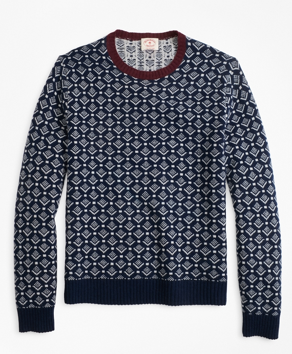 Geometric-Print Wool Sweater Navy