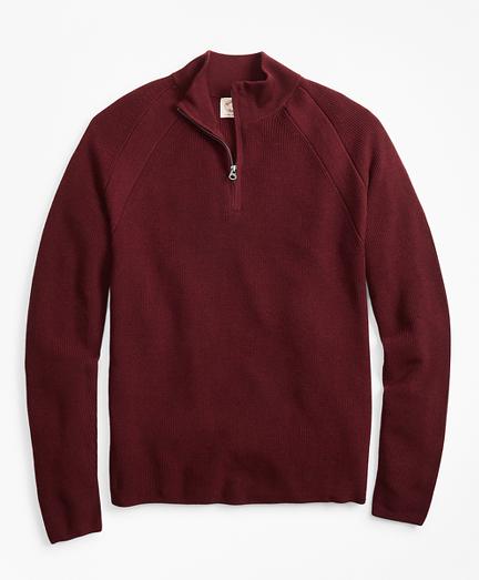 Half-Zip Merino Wool Ribbed Sweater