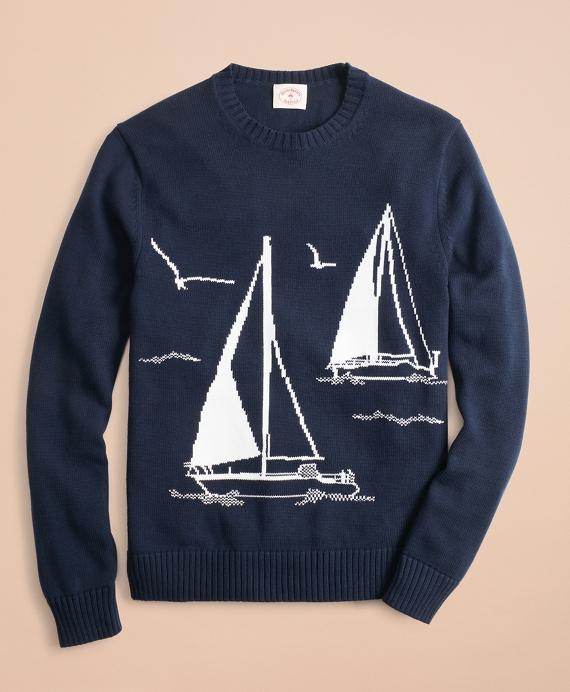Cotton Sailboat Crewneck Sweater Navy