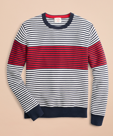 Color-Block Textured Striped Crewneck Sweater