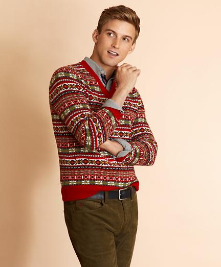Wool-Blend V-Neck Fair Isle Sweater