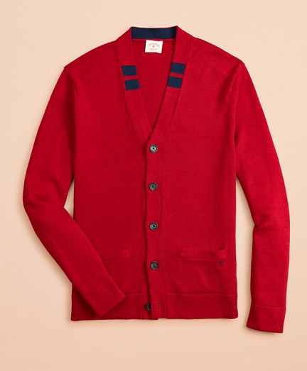 Tipped Cotton Cardigan Sweater