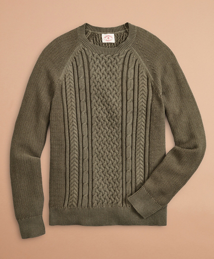 Acid-Wash Cable-Knit Crewneck Sweater