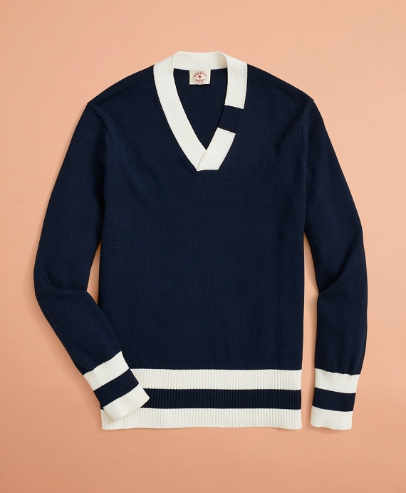 V-Neck Tennis Sweater Navy