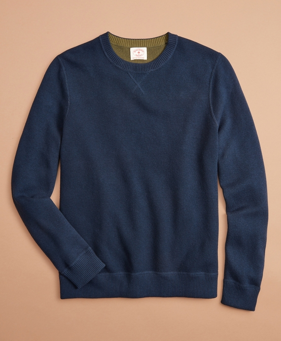 Reversible Double-Knit Cotton-Cashmere Sweater Navy-Green