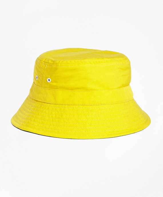 Reversible Nylon Bucket Hat Yellow-Navy
