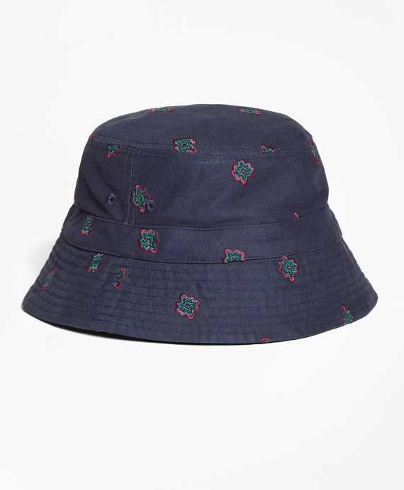 Medallion-Embroidered Bucket Hat Navy