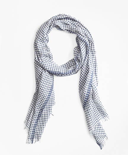 Gingham Cotton Gauze Scarf
