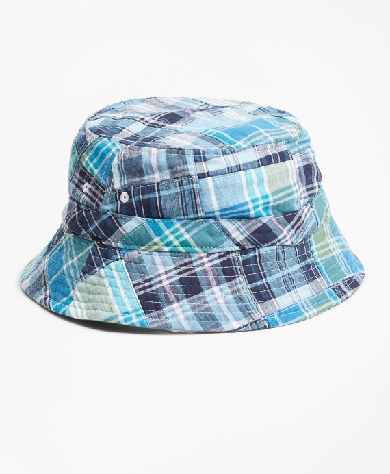 Reversible Patchwork Cotton Bucket Hat Blue