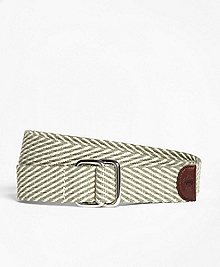 Striped Cotton D-Ring Belt