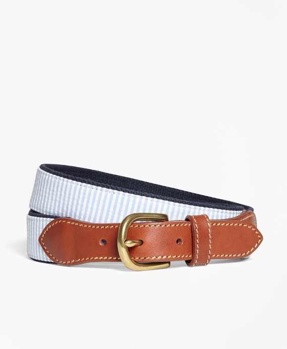 Seersucker Cotton and Leather Belt