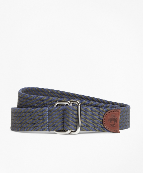 Striped Woven D-Ring Belt Navy-Olive