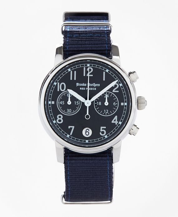 Round Navy Automatic Chronograph Watch with Nylon Straps