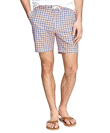 "7"" Gingham Swim Trunks"