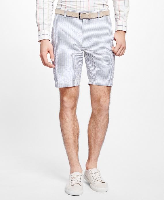 Stripe Seersucker Shorts Blue