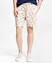 Flamingo Print Hybrid Swim Trunks