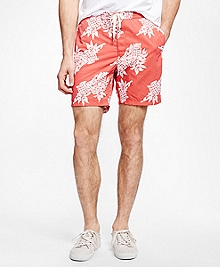 Pineapple Print Hybrid Swim Trunks