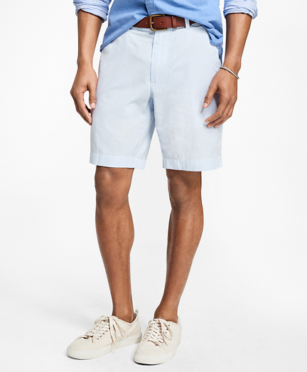 Stripe Cotton Seersucker Shorts