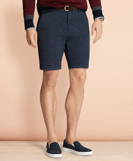 Foulard-Embroidered Stretch Cotton Twill Shorts