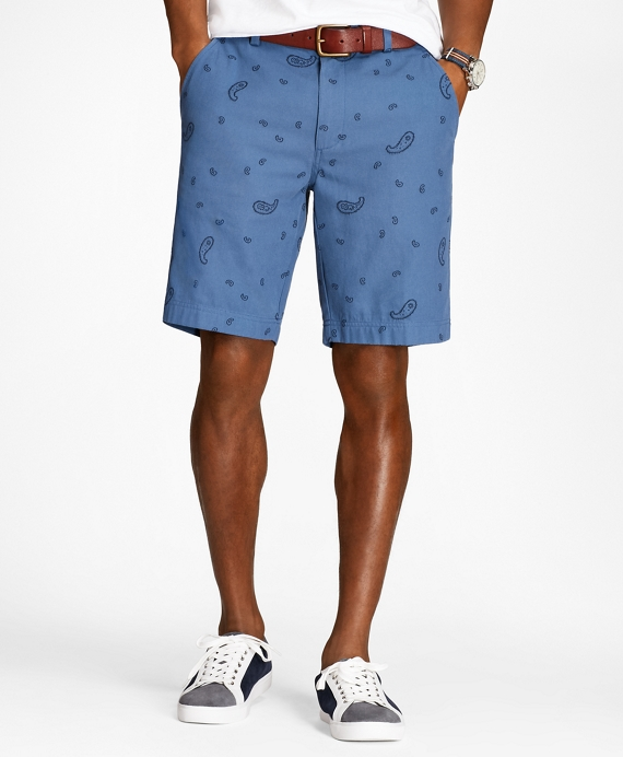 Paisley Cotton Jacquard Shorts Navy