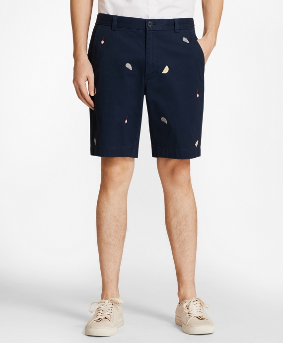 Embroidered Oyster Cotton Twill Shorts Navy