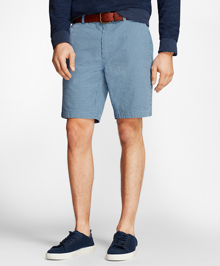 Gingham Cotton Seersucker Shorts